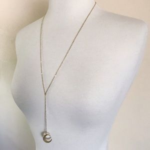 LAST ONE Pearl 14K Crescent Moon Lariat Necklace